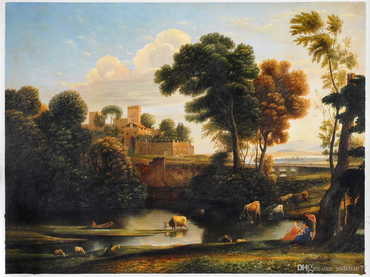 2019 Italian Landscape By Claude Lorrain Hand Painted Wall Decor Landscape Painting For Living