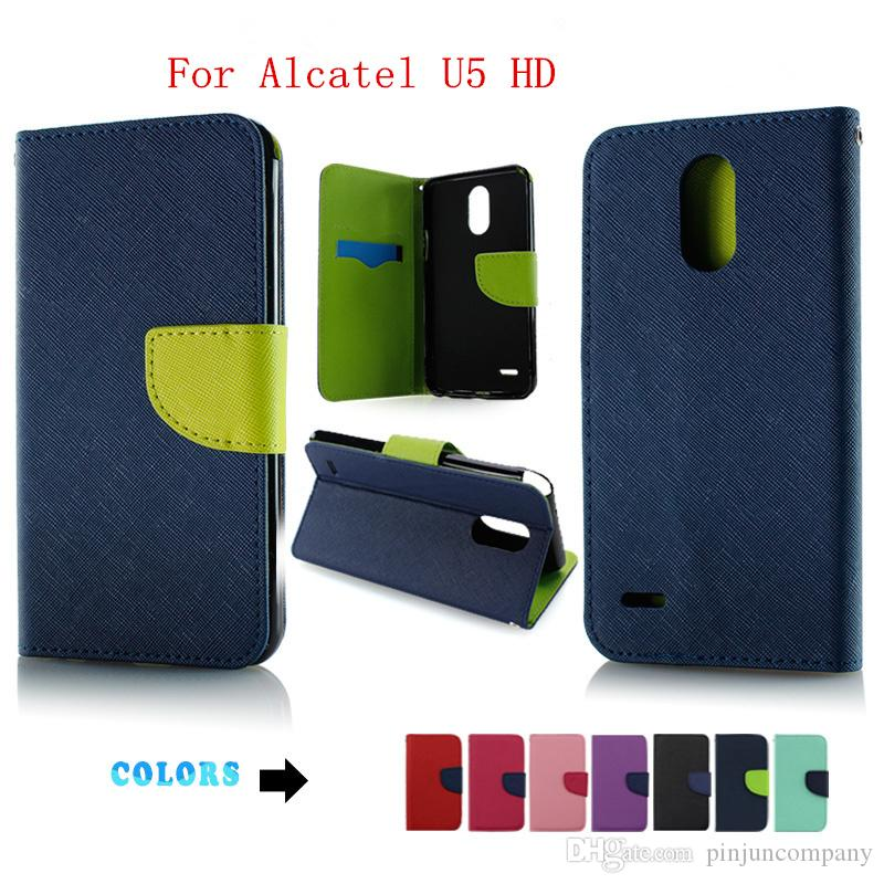 official photos d13f1 c71c3 For Alcatel Idol 5 leather wallet case For Alcatel Idol 5S Alcatel U5 HD  Flip eather phone Cover