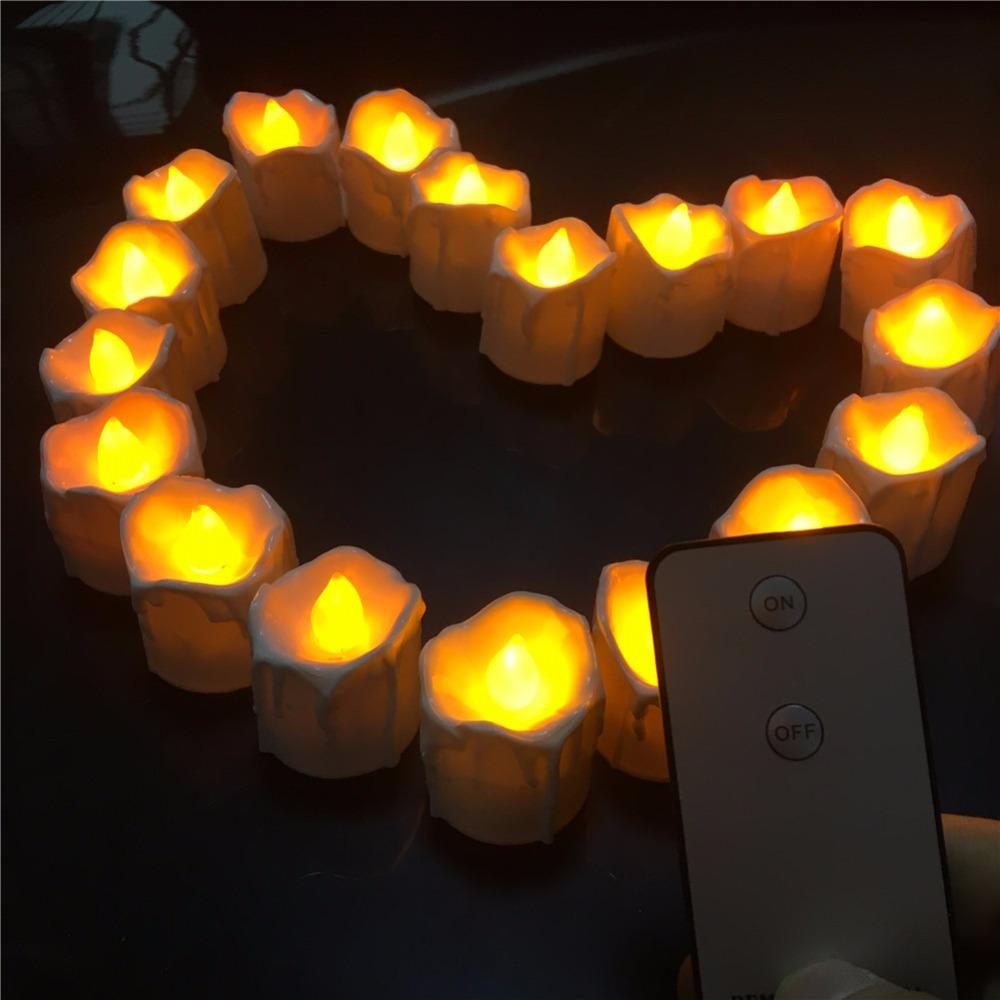 Colored Flame 12 Pieces Small Flickering Decorative Candles With Remote Control ,Yellow Red Bright Fake Tea Lights For Birthday