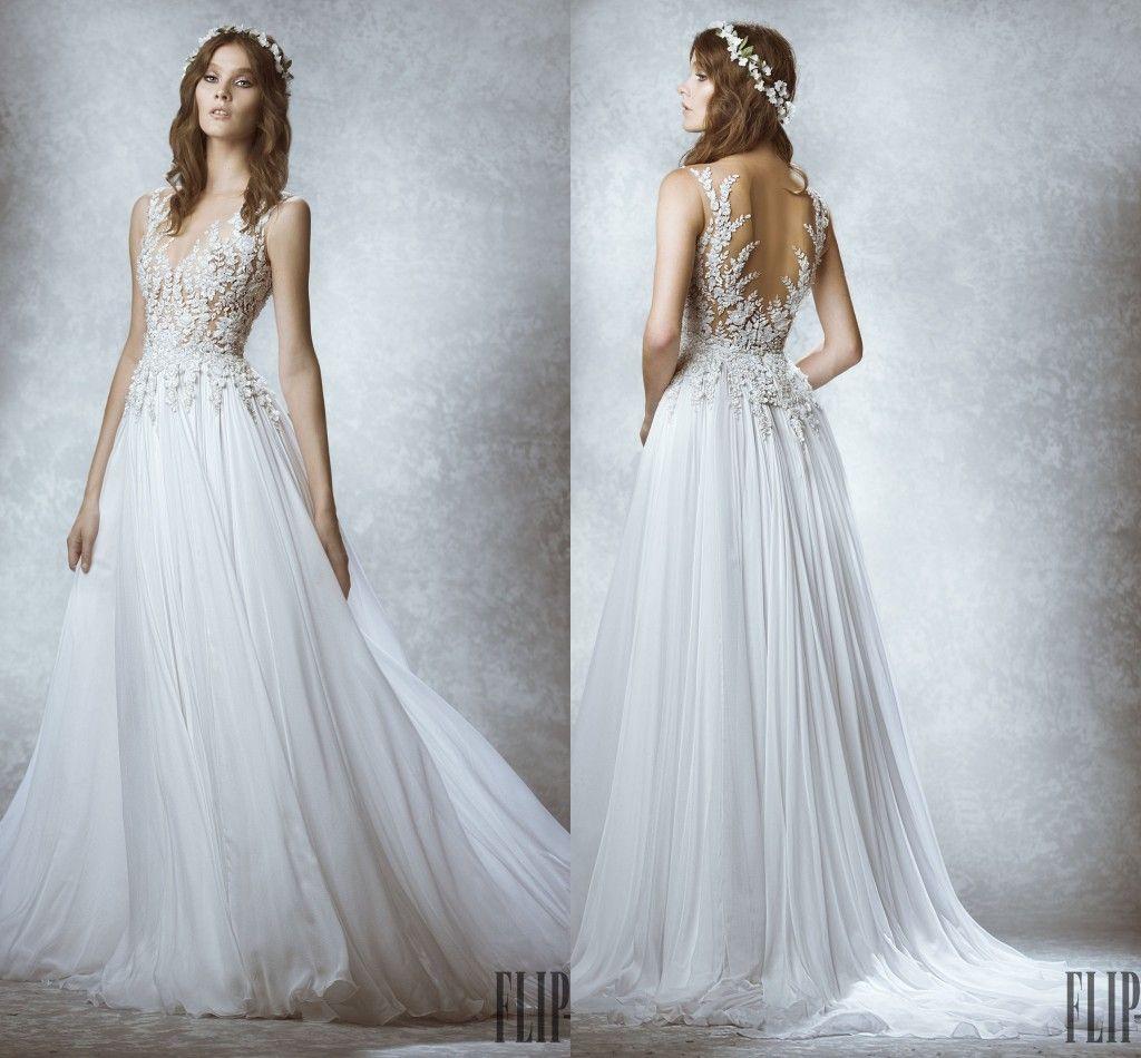 Zuhair Murad 2015 New Fall Winter Elegant Wedding Dress A Line Sheer Neck Sleeveless Appliques Chiffon Sweep Train Bridal Gown