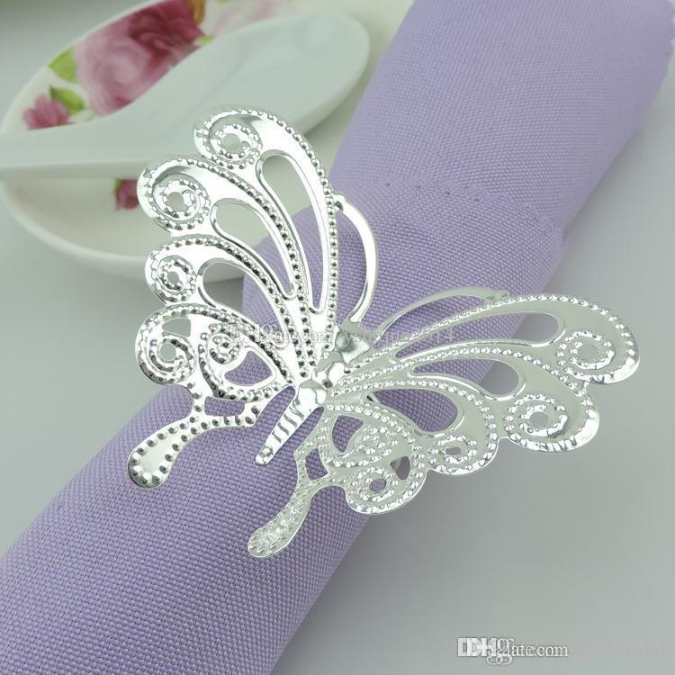 Hot Sale Silver Napkin Rings Butterfly Napkin Ring Wedding Napkin