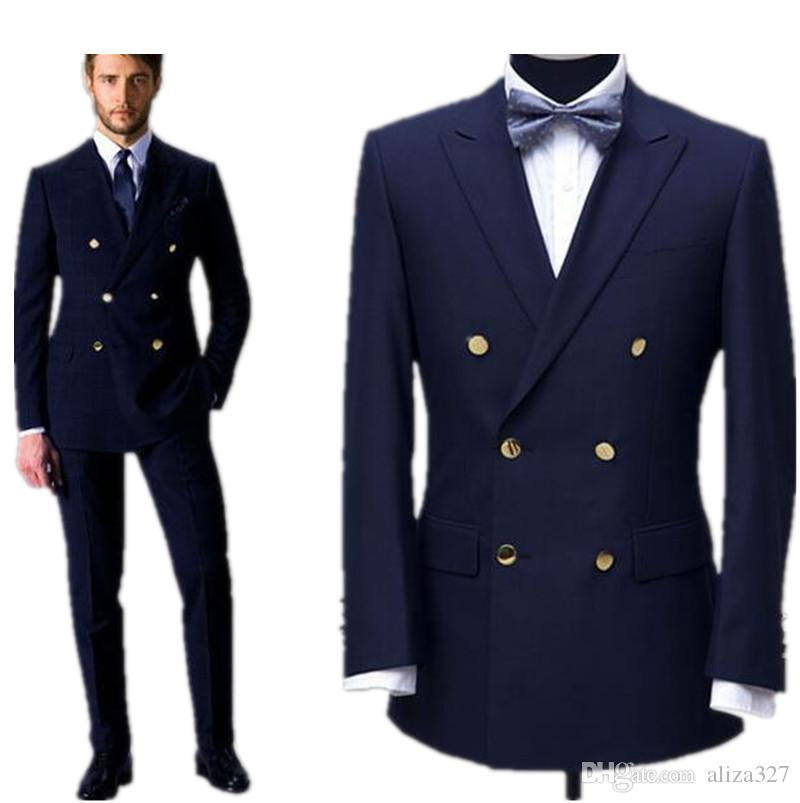 2015 Men Business Suits The Double Breasted Classic British Style ...