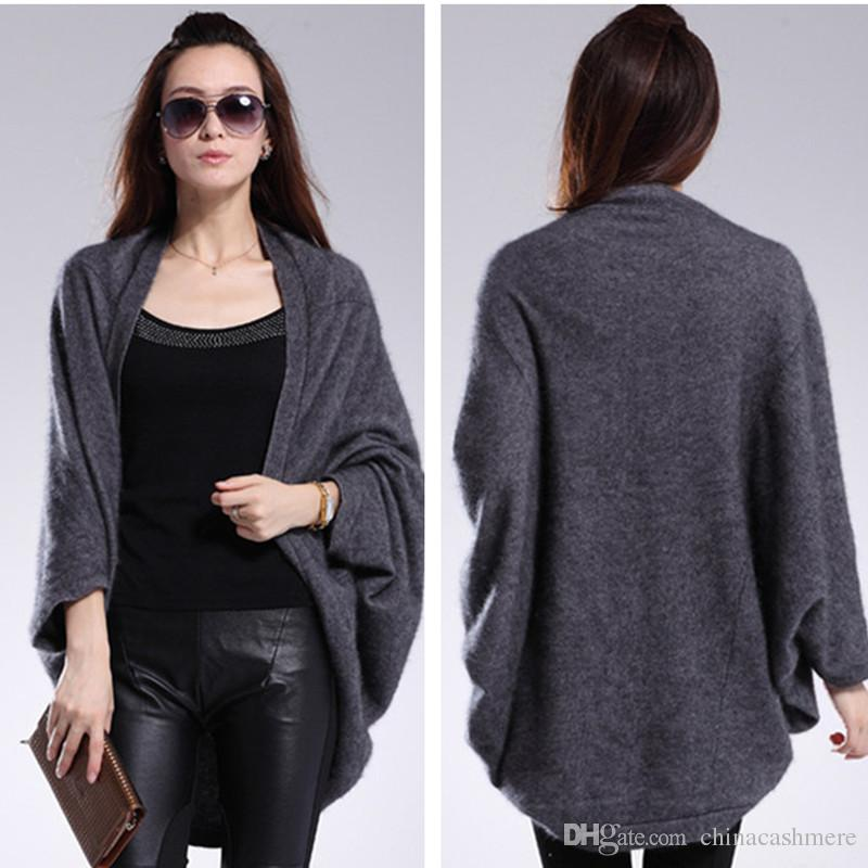 Dark Gray Color Mink Cashmere Shawl Cardigan For Women Girls ...