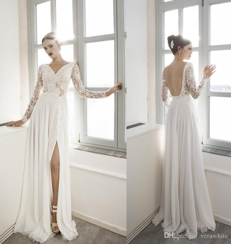 82fd86a75a Elegant Column Beach Wedding Dresses V Neck Ivory Chiffon Long Sleeves With  Lace Open Back Court Train New 2016 Custom Bridal Gowns Wedding Dresses  Aline ...