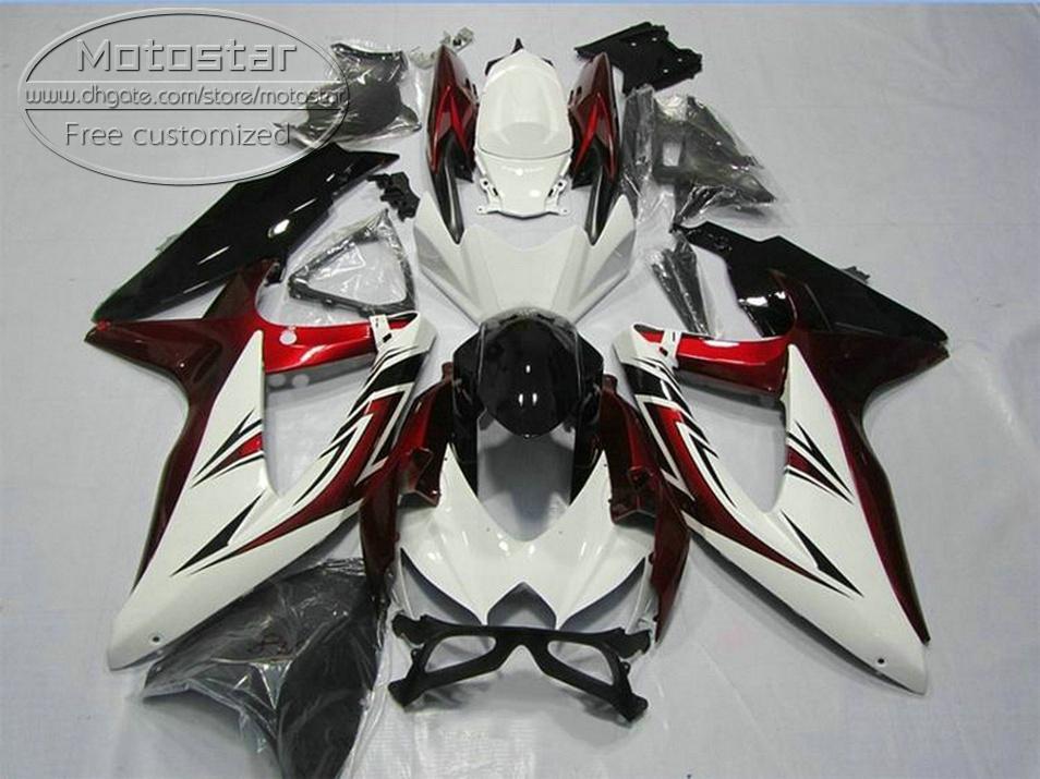 New aftermarket parts for SUZUKI GSX-R750 GSX-R600 2008 2009 2010 white red black fairings K8 K9 GSXR600/750 08-10 fairing kit KS80
