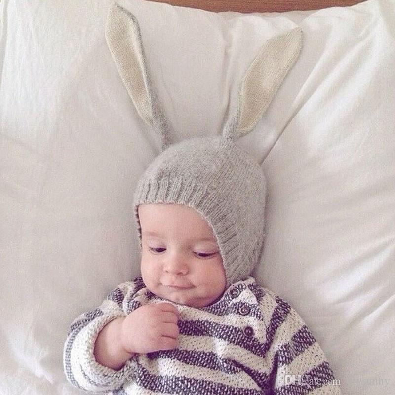 INS otoño invierno sombrero niño pequeño bebé de punto de ganchillo del bebé sombreros adorable conejo de oreja larga sombrero bebé conejito gorrita tejida gorras foto accesorios B