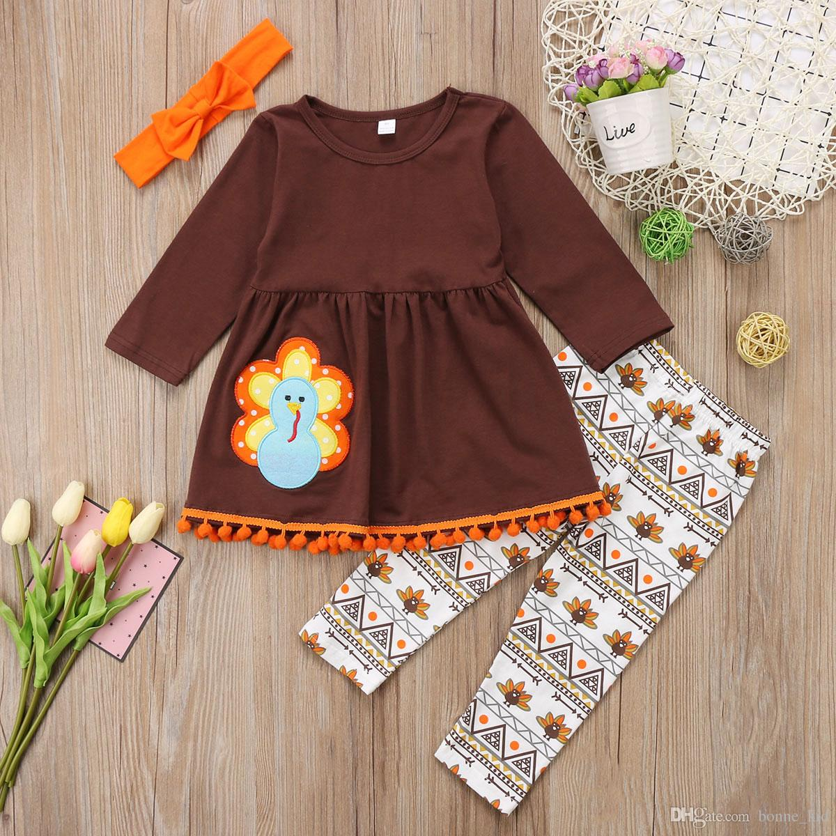 1d357d7036f64 Kids girl clothes outfit thanksgiving T-shirt top pant set lovely girls kid  clothing preppy boutique dress suits cute turkey toddler 2-7T