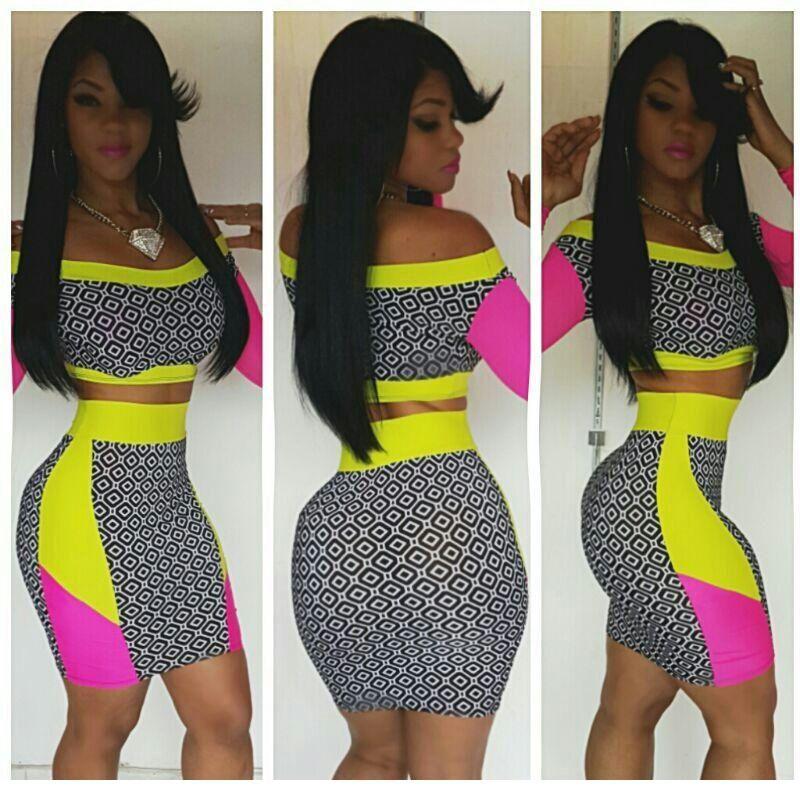 Vestido Curto Neon Yellow Pink Midi Skirt Sets with Print Panel ... 6541c3ff3453
