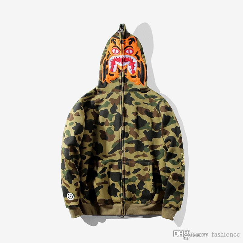 Men's Camouflage Tiger Print Hoodies Sportswear Tracksuit Zipper Fleece Shark Mouth Sweatshirts 6 Colors Fashion Hip Hop Hoodie