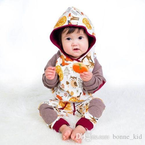 Bebek Hayvanlar Hoodie Yürüyor Kıyafetler Tops T-shirt + Pantolon 2 ADET Set Yenidoğan Bebek Giyim Tilki Baykuş Uzun Kollu Kız Giyim Erkek Giysileri 0-24 M