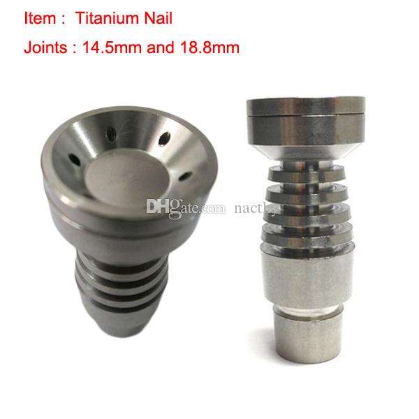 Hot Selling T-002 Domeless Titanium Nail with T-003 GR2 Titanium Nails Joint Both 14mm and 18mm Glass Bong Hookah Smoking Water Pipe