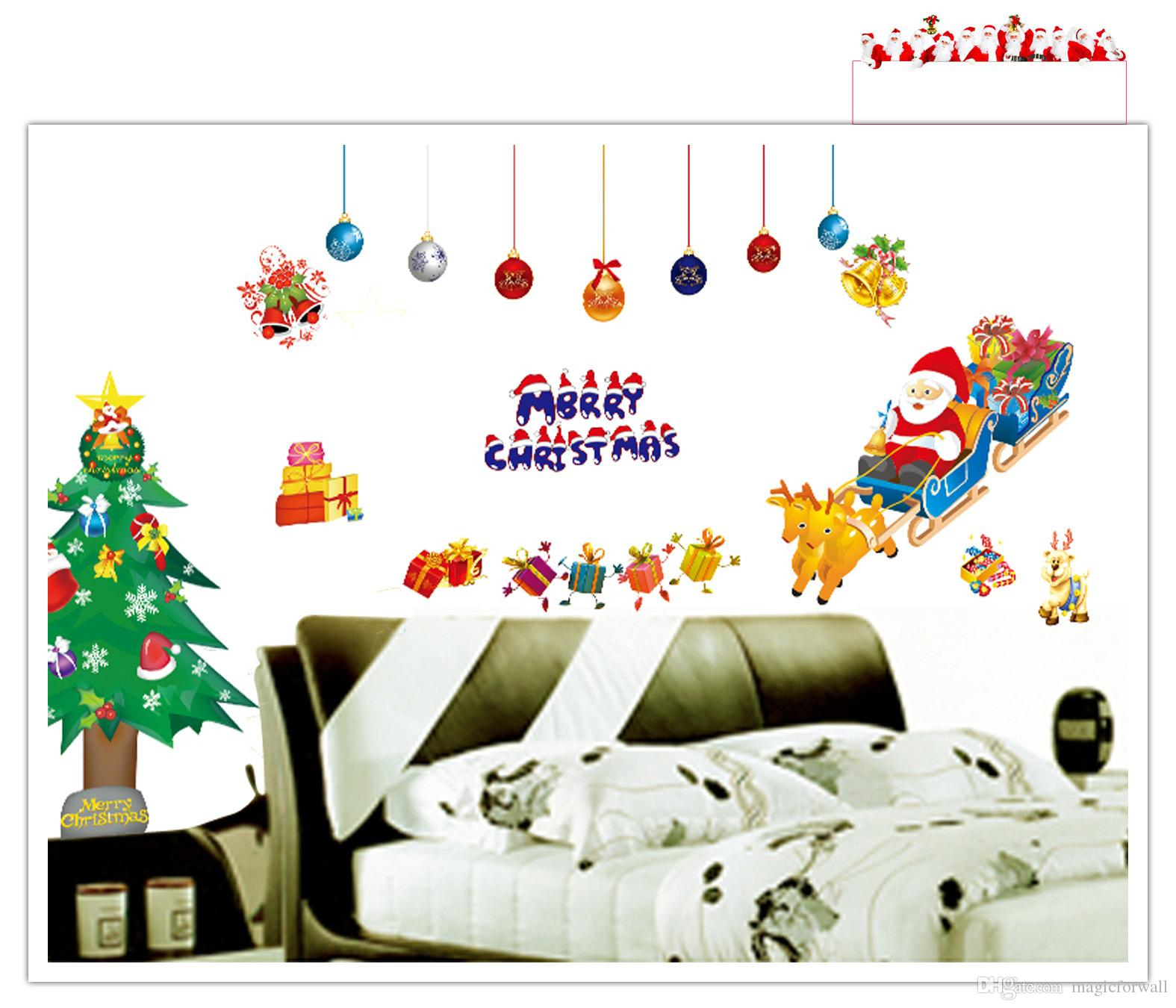 Merry christmas santa clause xmas tree wall art decal for Christmas tree mural
