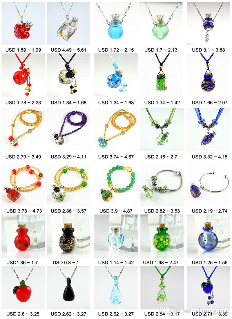ätherisches Öl Halskette Diffusoren Lampwork Glas Parfüm Anhänger Diffusor Flaschenöffner Halskette ätherisches Öl Medaillon Halskette Vials für Ashe