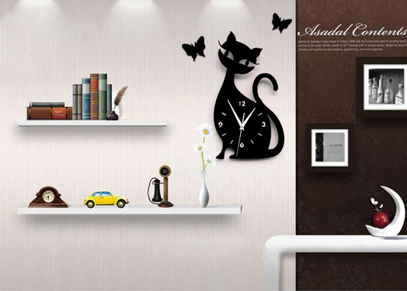 Superior Modern Design Living Room Children Cute Kitten Black Cat Wall Quartz  Acrylic Clock 28x50cm Wall Clock Part 7