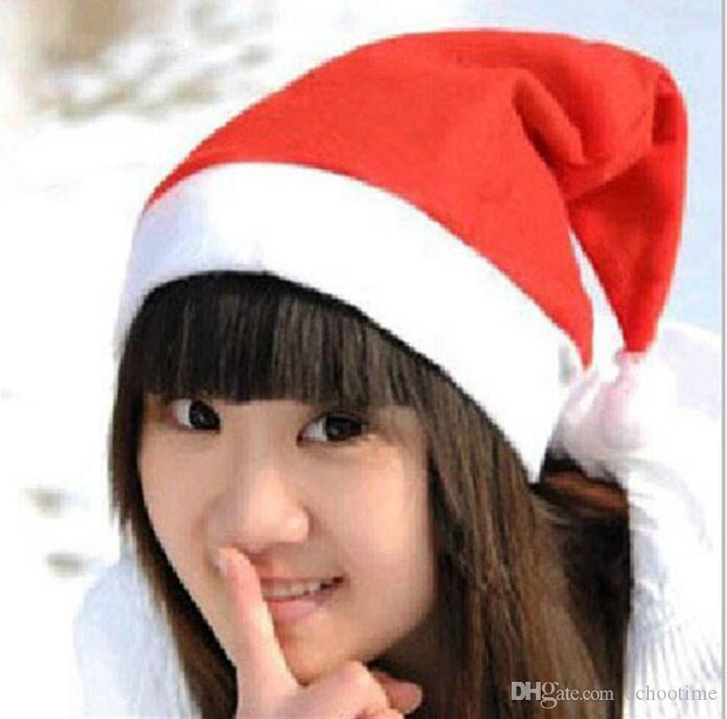 Echootime Claus chapéu vermelho de Santa ultra macio Plush Natal Cosplay chapéus Decoração de Natal Adultos Festa de Natal chapéus Suprimentos