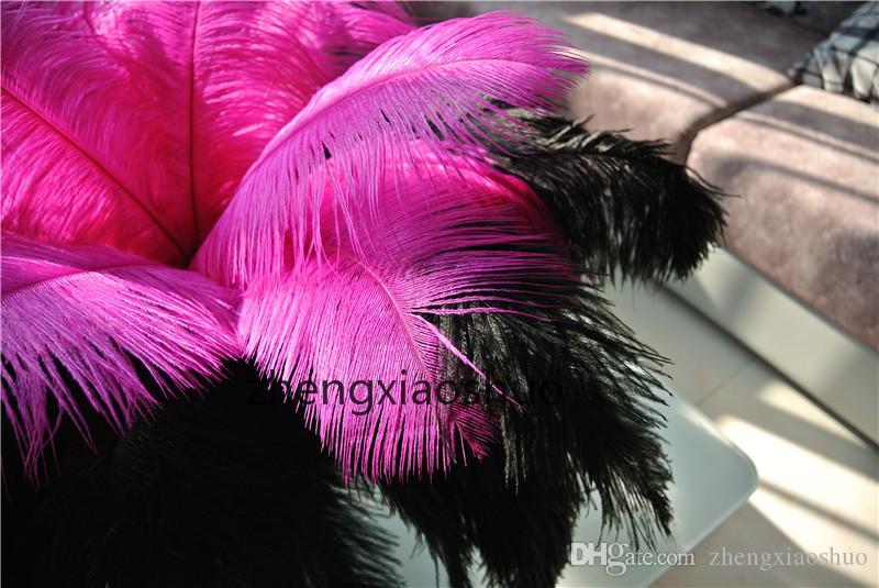 Partihandel 100st / Svart och Fushia Ostrich Feathers Ostrich Plumes för Wedding Centerpiece Bröllopsfestinredning