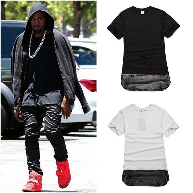 c36512b12a0e Men Gold Zipper Hip Hop T Shirt Long Streetwear Long Extended Swag T Shirt  Black  White  Fashion Tops Tees Plus Size M XXL Short Sleeve Shirt Novelty T  ...