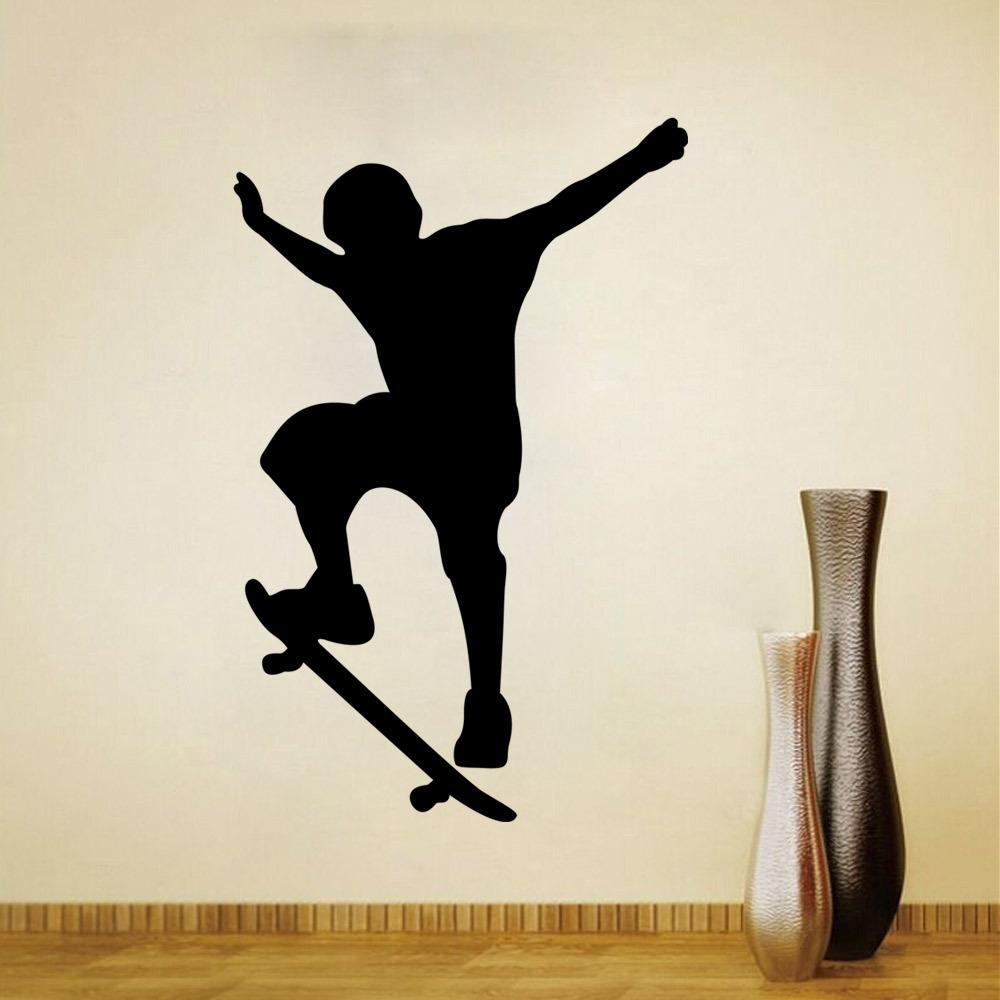Skateboard boy sport cool life simple black diy wall stickers skateboard boy sport cool life simple black diy wall stickers wallpaper art decor mural kids children room decal wall decor stickers cheap wall decor amipublicfo Images