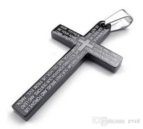 Men's Stainless Steel Pendant Necklace Gold Cross English Bible Lords Prayer Polished with 23 inch Chain