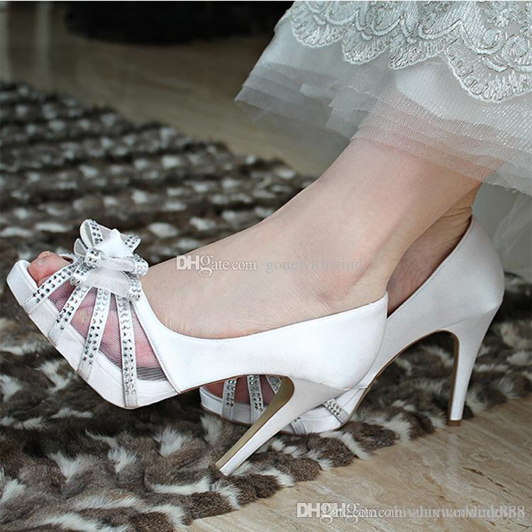 Peep Toes Satin Wedding Shoes With Butterfly Crystal Beaded Ivory Wedding  High Heels Bridesmaid Prom Party Shoes Wedding Shoes Sale Wedge Shoes On  Sale From ... 70479e69f107