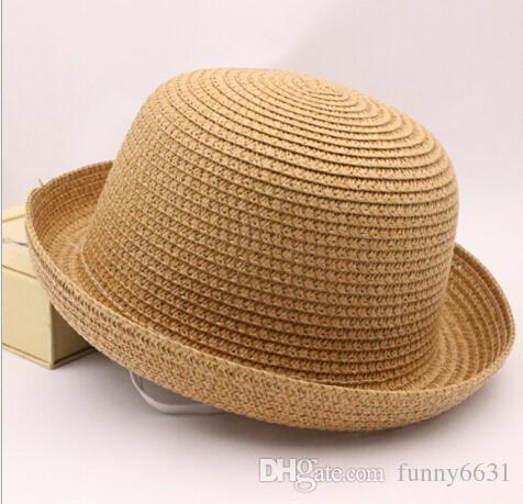 2015 여름 소녀와 소년 밀 짚 모자 아이 모자 유니섹스 빈티지 해변 여름 Trilby 패키지 짚으 어린이 태양 모자 6 색