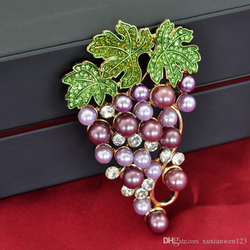 Spilla d'uva Accessori l'abbigliamento Gioielli da sposa Spille di cristallo uomo / donna