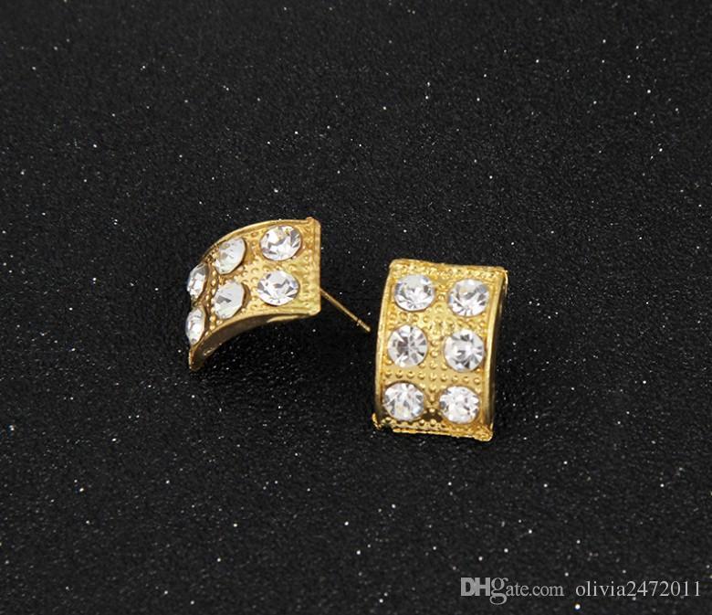 Modeschmuck Sets 18 Karat Gold Chunky Kette Aussage Perlen Bib Kragen Halskette Strass Ohrringe Ring Armband 4 stücke Schmuck Set Für Frauen