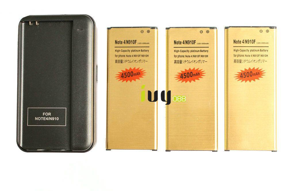 3 قطع 4500 مللي أمبير EB-BN910BBE الذهب استبدال البطارية + شاحن لسامسونج غالاكسي ملاحظة 4 N910 N910F N910H N910S N910T N910V N910A N910C N910G