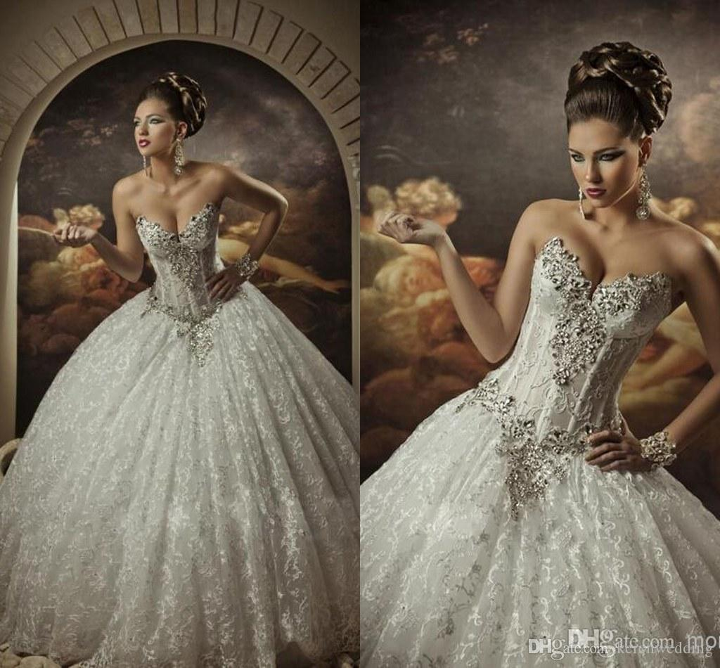 2015 elegant beading wedding dresses bling sweetheart for Bling princess wedding dresses