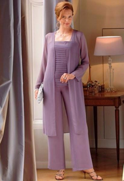 Purple Mother of the Bride Pant Suits Chiffon Three Pieces Brides Mother Suits for Weddings Pants Suits Mother Formal Dresses d046