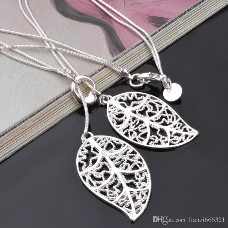 ترويج بيع 925 الفضة سلسلة قلادة عيد الميلاد الأزياء 925 الفضة 2 يترك قلادة المجوهرات الشحن المجاني الساخن بيع 1357