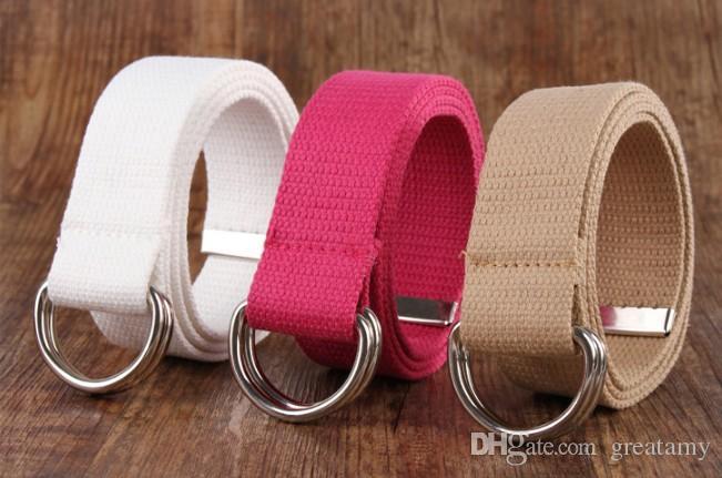 Atacado- 18 cores colorido mulheres homens cintos de cintura duplo anéis fivela Casual unisex lona Cintura transporte rápido