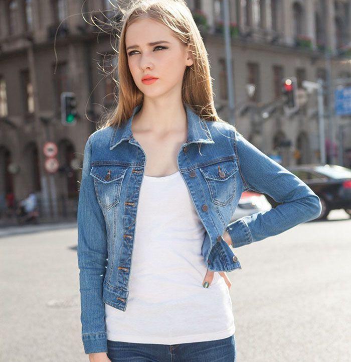 5fb78a9fc5a New Fashion Autumn Spring Denim Jacket Women Ladies Elegant Slim Tops Long  Sleeve Coat Energetic Jacket Girls Fashion Suit Coat Energetic Jacket Girls  ...