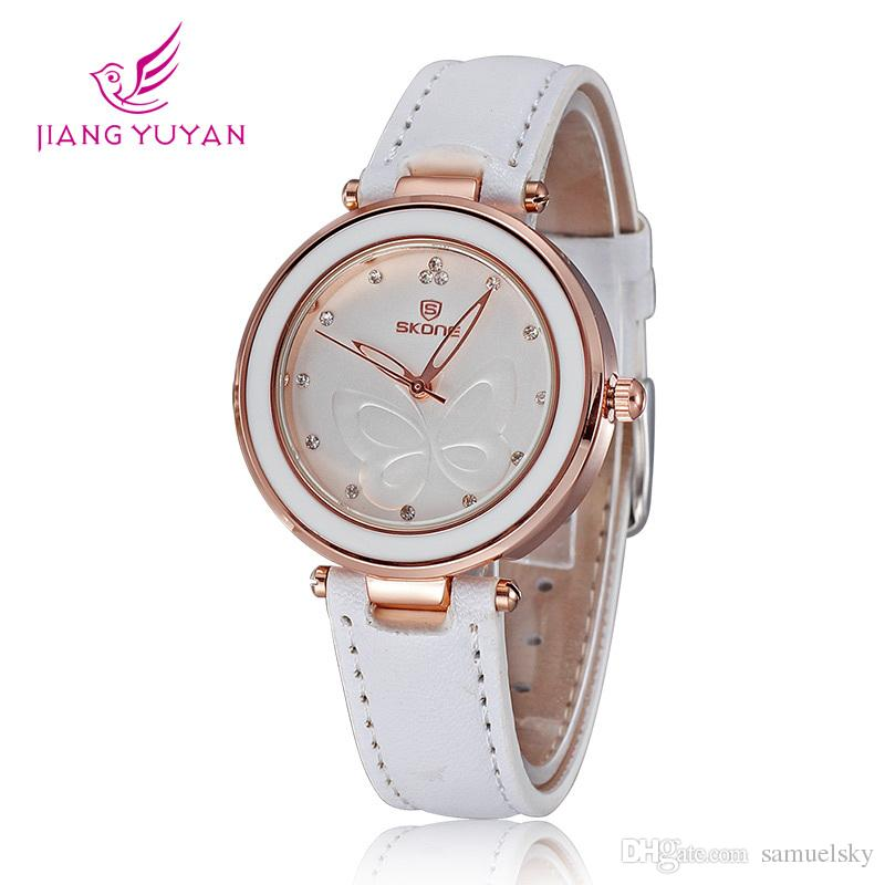 New simple elegant female watch fashion women rhinestone watches brand luxury pink pu leather for Watches brands for girl