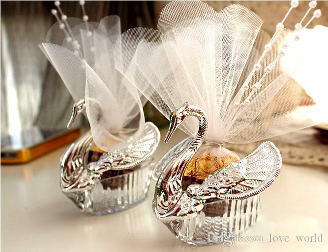 Hot New Wedding Favors Candy Box Acrylic Silver Swan Sweet Wedding