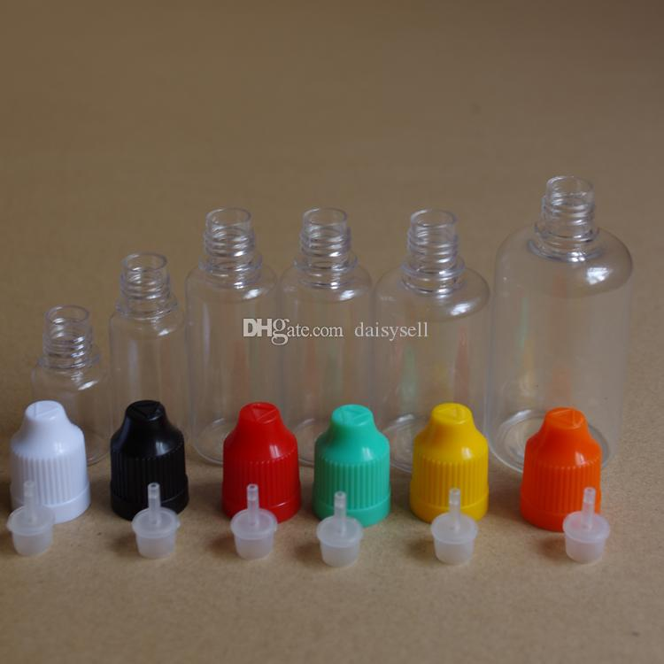 5ml 10ml 15ml 20ml 30ml 50ml Leere PET-Kunststoff-Tropfflasche mit kindersicherer Kappe und langer dünner Spitze für E-Cig E-Flüssigkeitsflasche