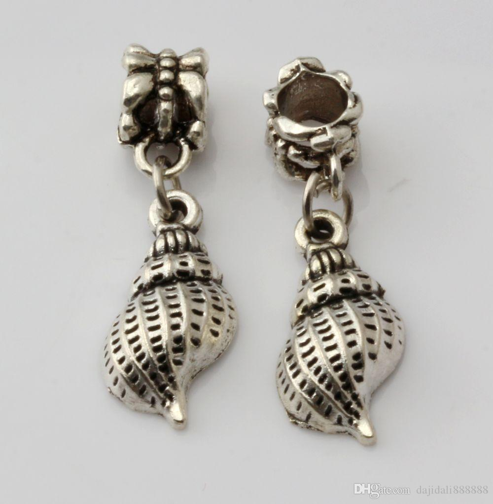 MIC Antique Silver Conch Dangle Beads Fit Charm Bracelets DIY Jewelry 9.5x 31mm