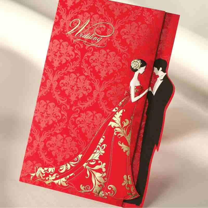 Delightful Red Gold Stamp Wedding Invitations Cards With Printable Blank Inner Sheet U0026  Envelope U0026 Rsvp Card Available 3 Folded Wedding Supplies Photo Wedding ...
