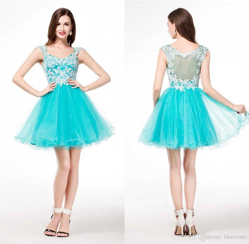 Lime Green Homecoming Dresses Appliques Lace Custom Made A Line ...