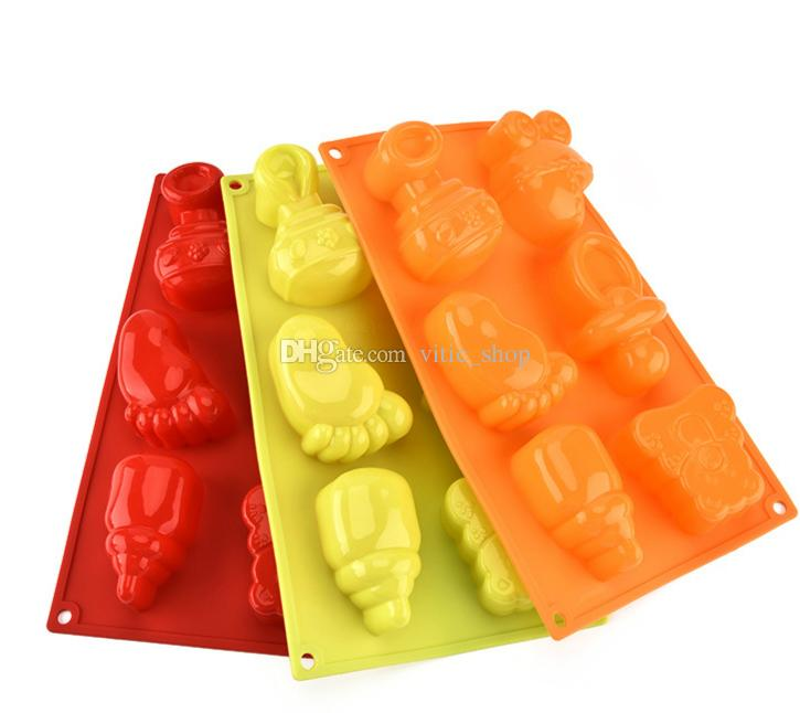 Silicone cake mold baby bottles shape 6 holes High quality feet Bakeware mold kitchen biscuit chocolate model Jelly mould Fondant mold CMM03
