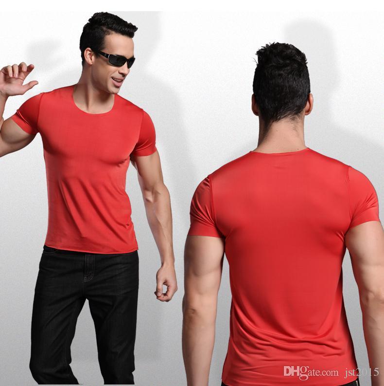 Wholesale-silk super cool seamless tight male short-sleeve o-neck t-shirt Ultra- smooth basic short-sleeve bodysuit male singlet men
