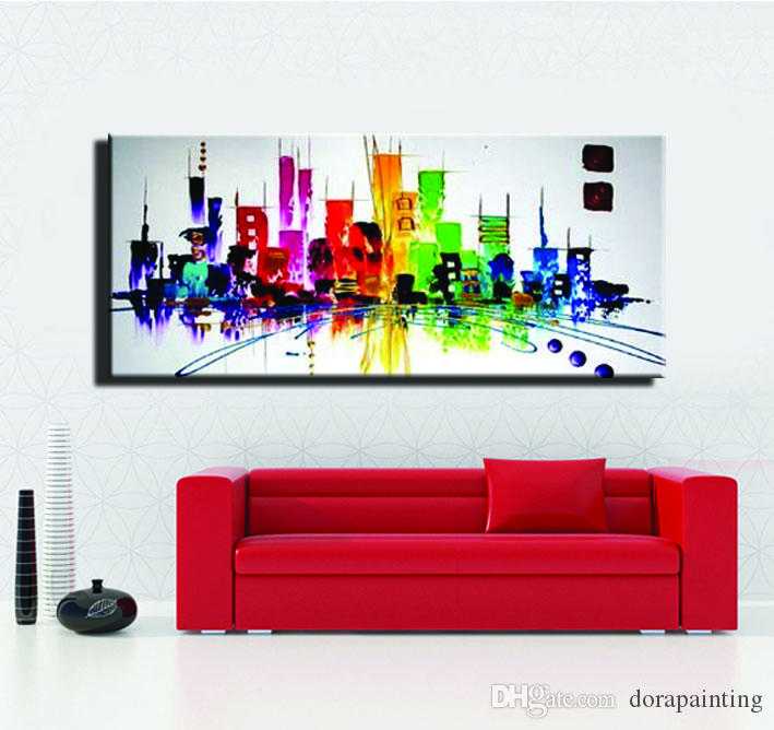 colorfull Moda moderna ABSTRACT New York pittura città luce di notte pittura a olio su tela soggiorno parete singola foto art