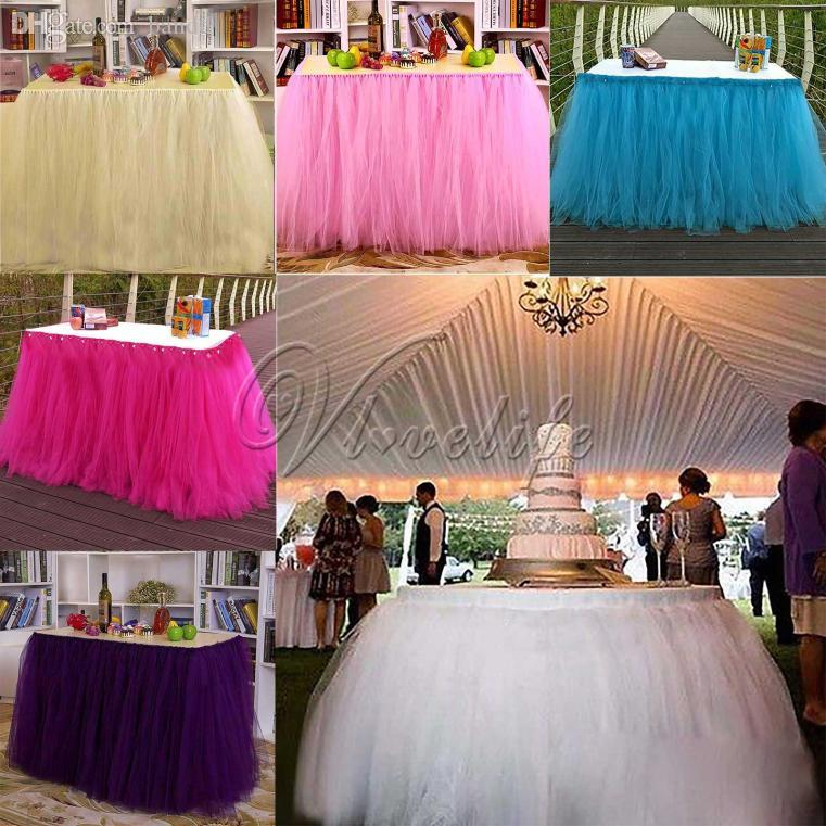 2018 Wholesale New Tulle TUTU Table Skirt Tableware Wedding Party Xmas Baby Shower Birthday Decorations White Ivory Pink Purple Blue From Meetamo