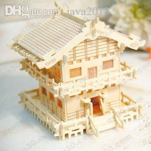 2018 wholesale wooden house model 3d wood puzzle miniature doll house toy japanese light house mw110 from java2013 3318 dhgatecom - House Model 3d