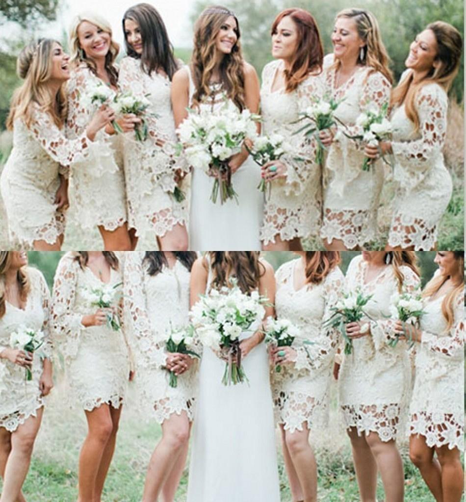 Long Sleeve Bridesmaid Dresses V Neck Garden Wedding
