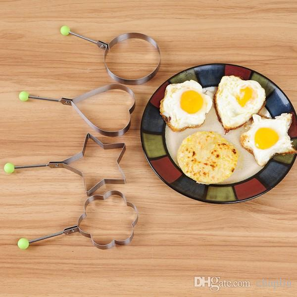 Stainless Steel Fried Egg Mould 6 Shapes Egg Pancake Ring Mold Shaper Kitchen Cooking Tools Fried Egg Shaper