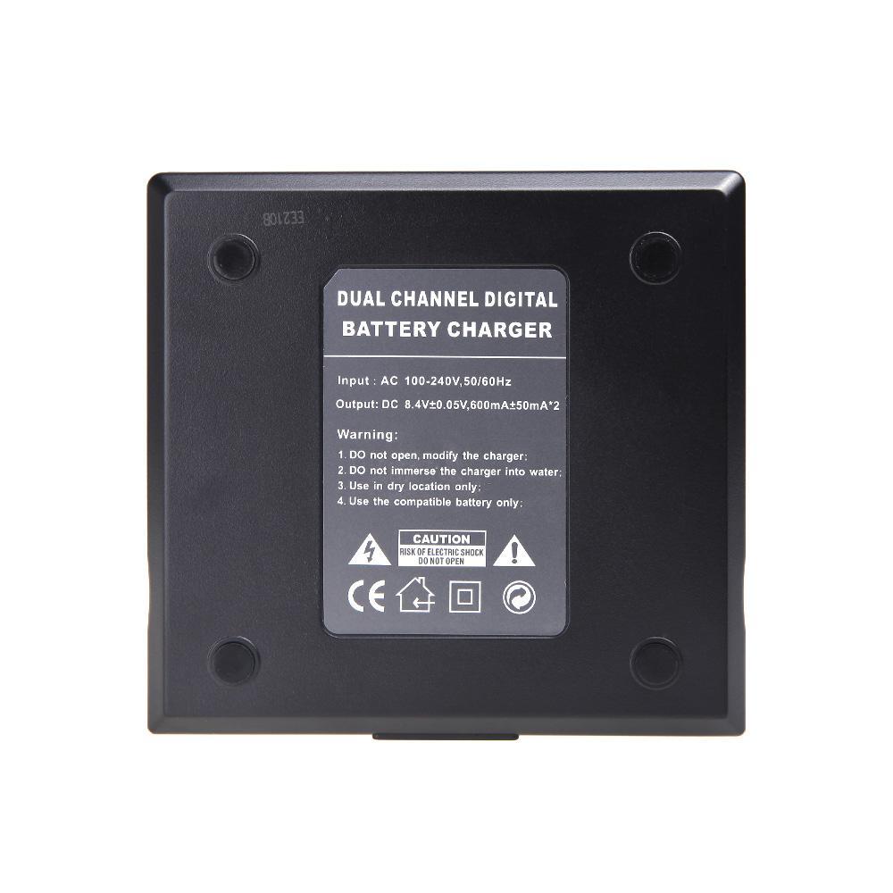 Chargeur de batterie numérique double AC / DC 2014 pour SONY NP-F970 F750 Batterie de caméra F960 QM91D FM50 FM500H FM55H Noir