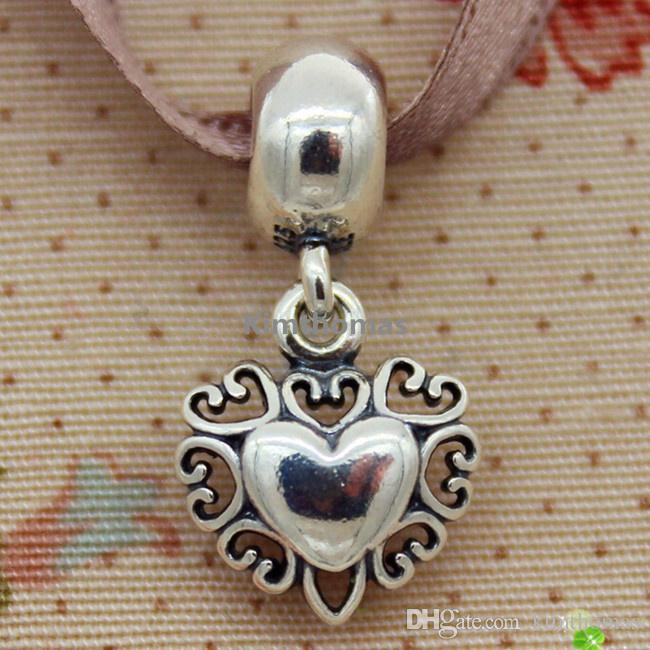 925 Sterling Silver &14K Real Gold Filled with Love Dangle Charm Bead Fits European Pandora Style Jewelry Bracelets Necklaces & Pendants