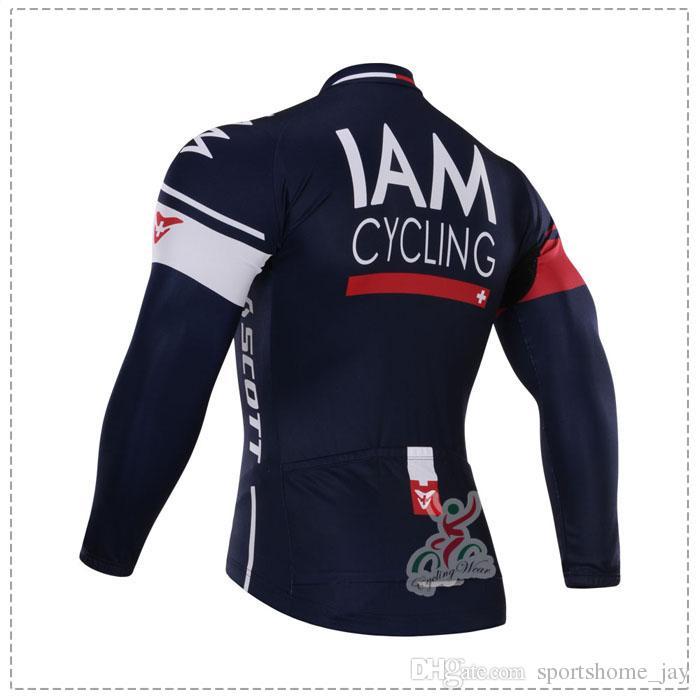 Winter 2015 Iam 팀 겨울 양털 로파 Ciclismo 긴 소매 사이클링 저지 + 턱받이 바지 겨울용 양털 자전거 의류 세트
