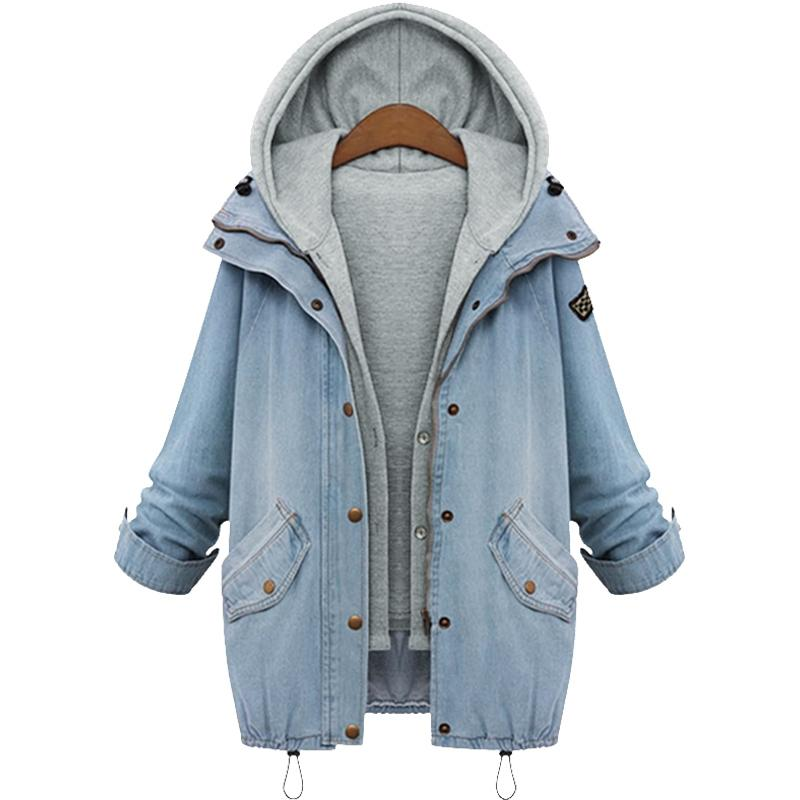 e719116829990 Newest Women Jacket Two Piece Set Denim Jackets Fashion Hooded Plus Size  Oversized Casual Women Coat Outwear Light Blue Cool Jackets Cheap Leather  Jackets ...